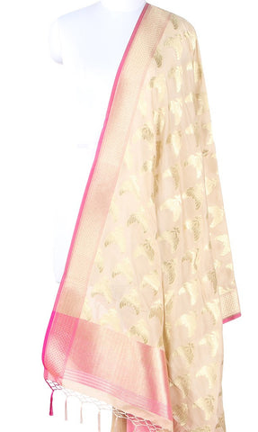 Beige Art Silk Banarasi Dupatta with stylish bird pair motifs SSRVDAS604 (1) Main