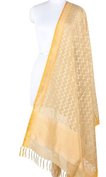 Beige Banarasi Silk Dupatta with Vertical chevron stripes PCPBD04S22 (1) Main