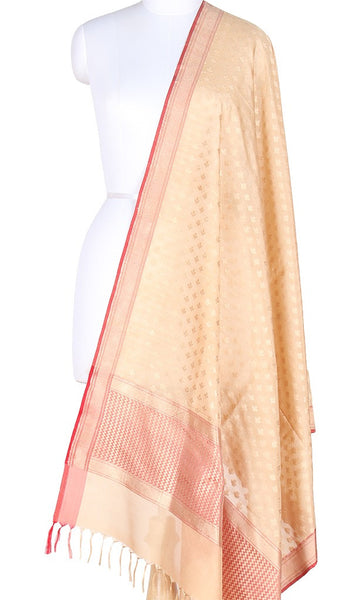 Beige Banarasi Silk Dupatta with mini flower bud booti PCPBD04S07 (1) Main