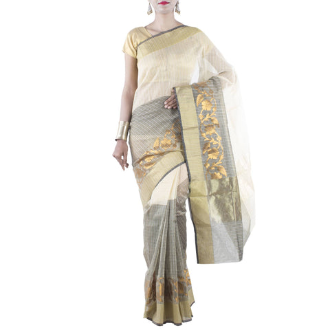 Beige and Gray Art Silk Cotton Saree with Floral Jaal and Zari work