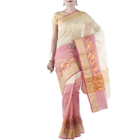 Beige and Pink color Art Silk Cotton Saree with Floral Jaal and Zari work