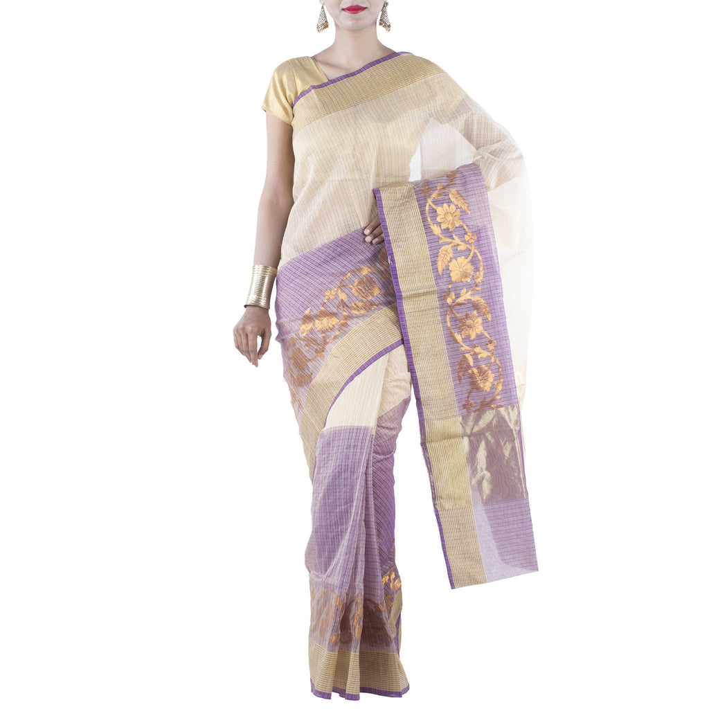 Beige and Purple color Art Silk Cotton Saree with Floral Jaal and Zari work