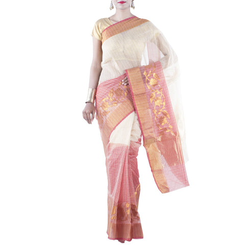 Beige and Red color Art Silk Cotton Saree with Floral Jaal and Zari work