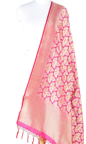 Berry Pink Katan Silk Banarasi dupatta with Dolls motifs (PCRVD03D02) (1) Main