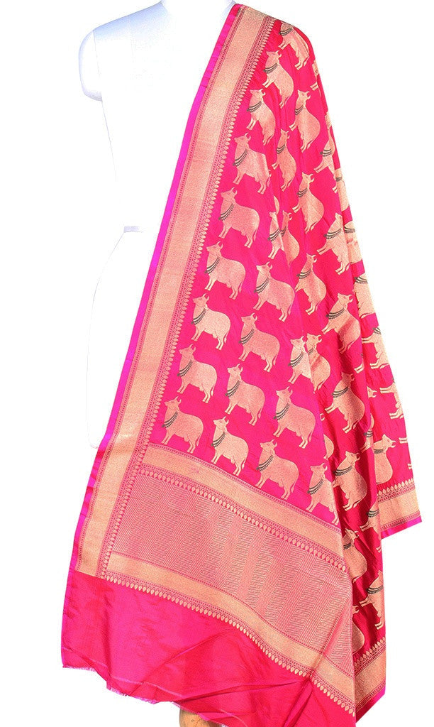 Berry Pink Katan silk Banarasi dupatta with cow motifs (PCRVD02C12) (1) Main