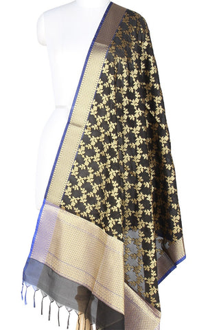Black Art Silk Banarasi Dupatta with Aesthetic floral jaal PCRVD01N87 (1) Main