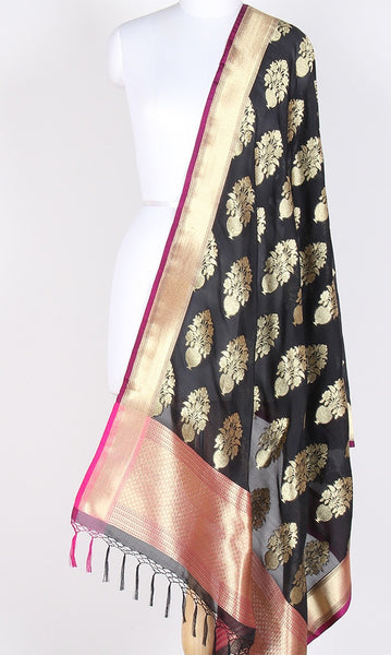 Black Art Silk Banarasi Dupatta with big flower pot motifs SSRVDAS540 (1) Main