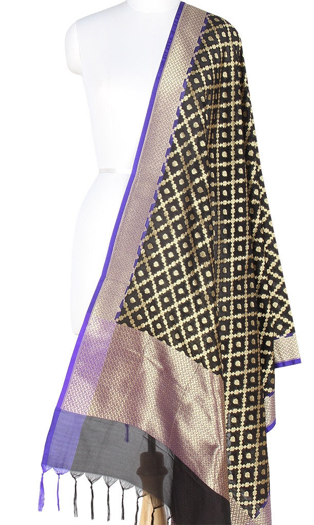 Black Art Silk Banarasi Dupatta with big grid pattern jaal and zari work PCJB01N56 (1) MAIN