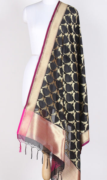 Black Art Silk Banarasi Dupatta with bird motifs SSRVDAS523 (1) Main