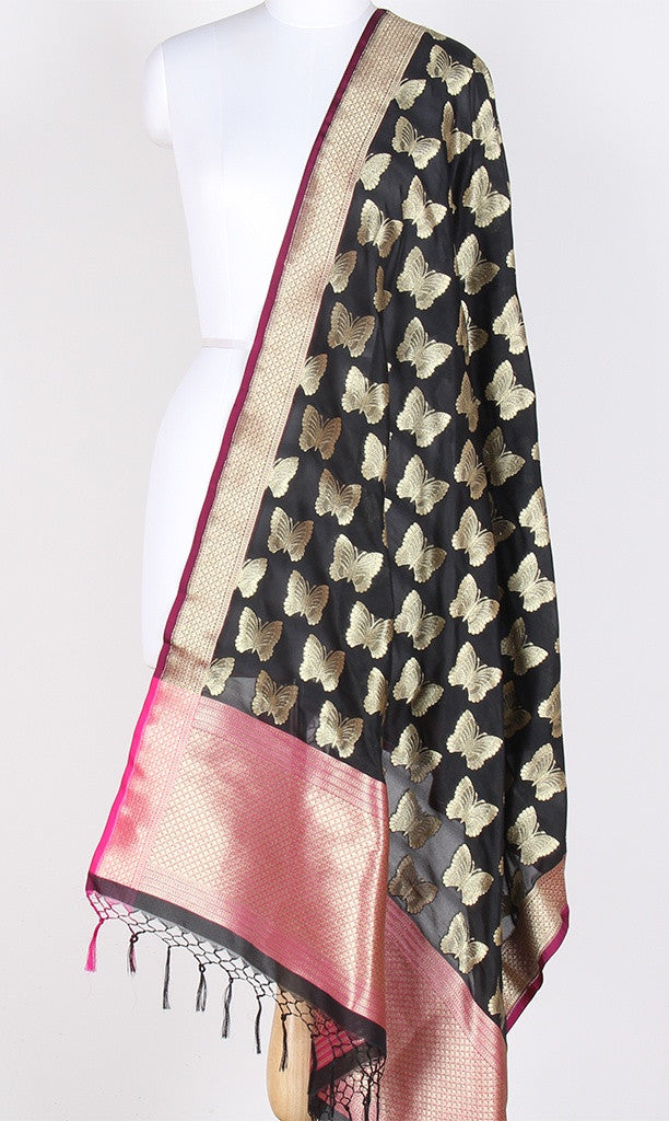 Black Art Silk Banarasi Dupatta with butterfly motifs SSRVDAS531 (1) Main