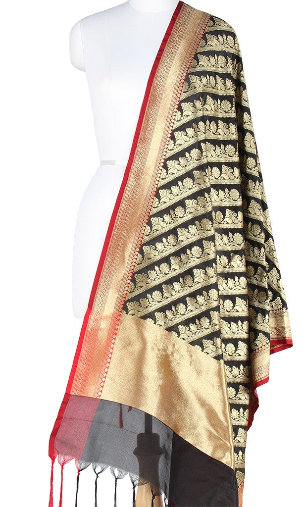 Black Art Silk Banarasi Dupatta with diagonal floral jaal PCJB01N08 (1) Main