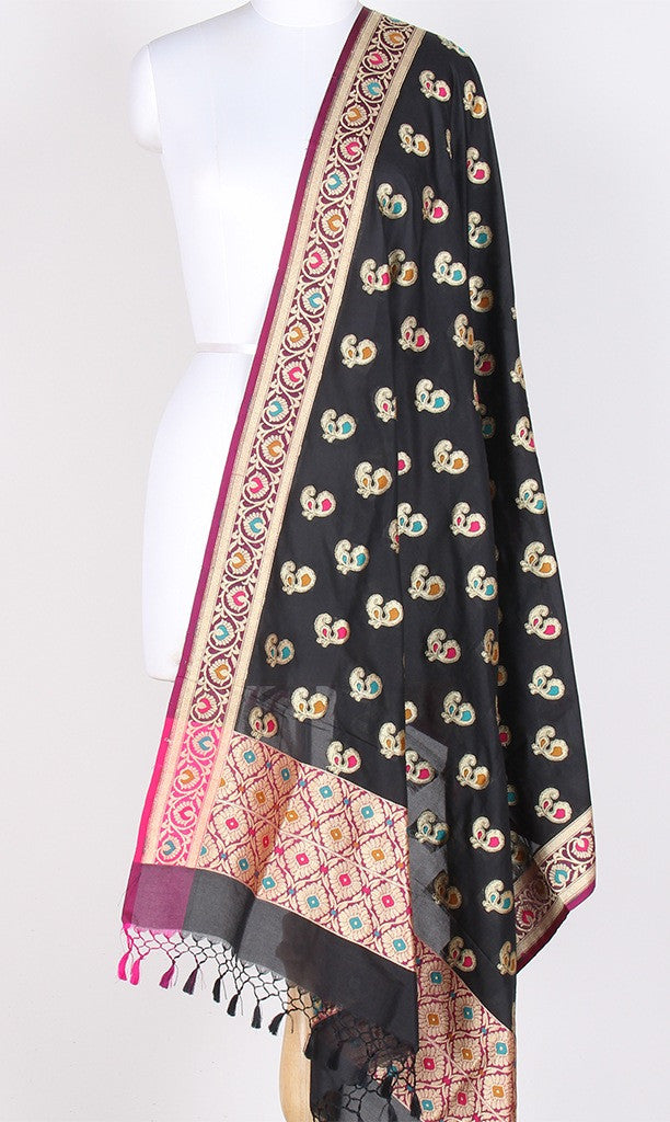 Black Art Silk Banarasi Dupatta with multi color peacock motifs PCRVDAS01TMP01 (1) Main