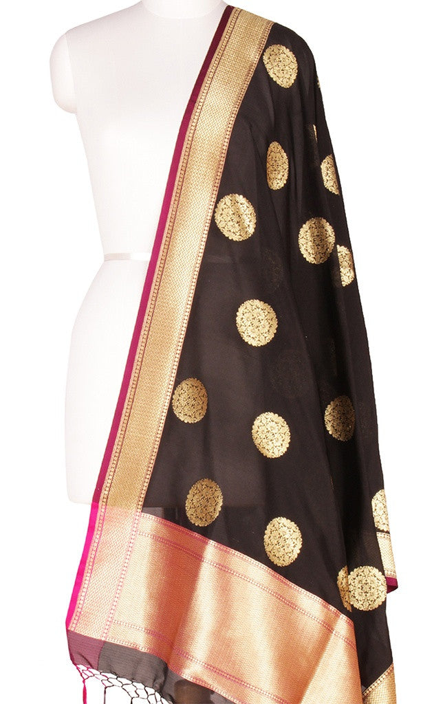 Black Art Silk Banarasi Dupatta with stylized circular motifs MAIN IMAGE