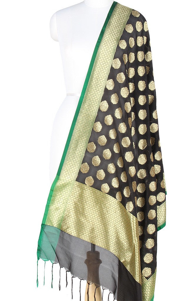 Black Art Silk Banarasi Dupatta with stylized motifs PCJB01N48 (1) MAIN