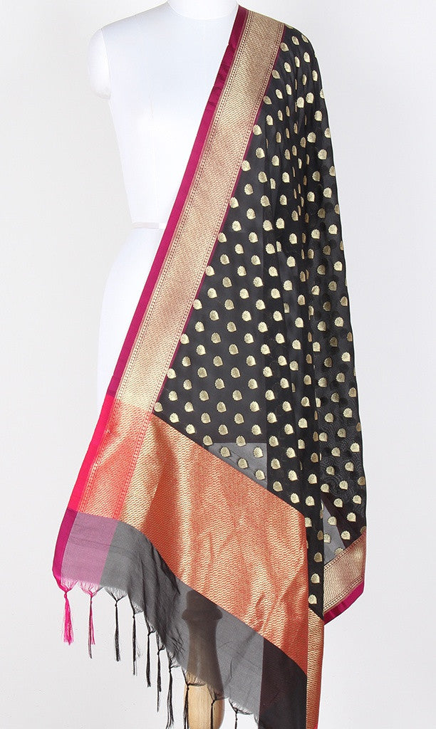 Black Art Silk Banarasi dupatta with flower bud motifs SSJB01N72 (1) Main