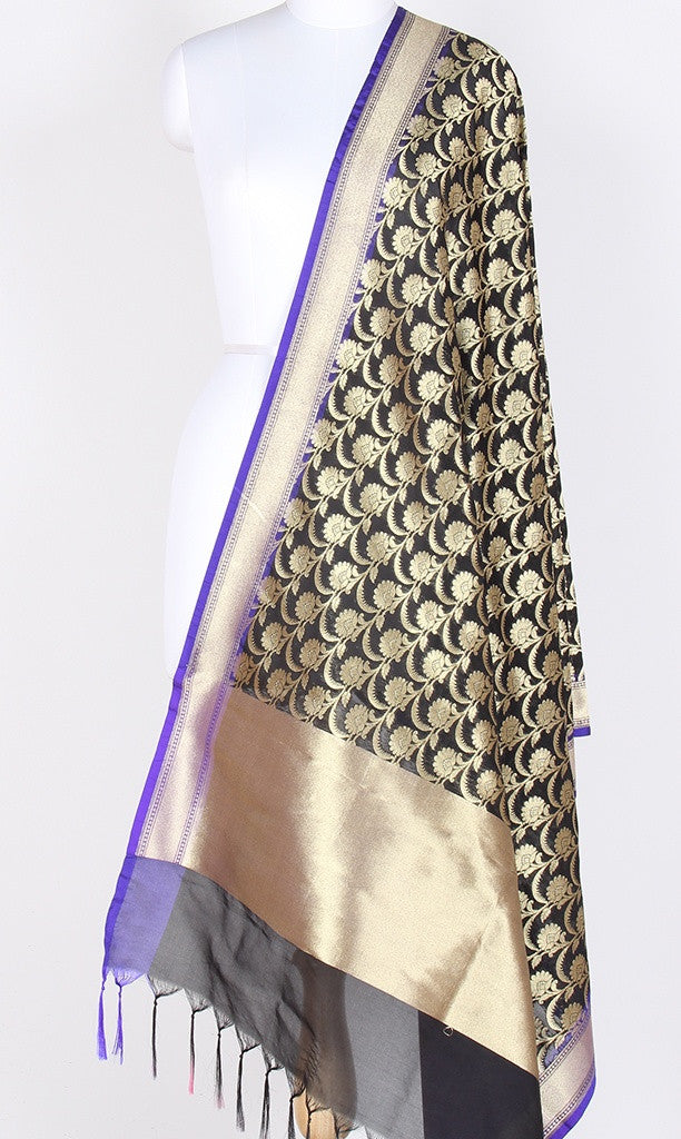 Black Art Silk Banarasi dupatta with flower jaal and zari work SSJB01N75 (1) Main
