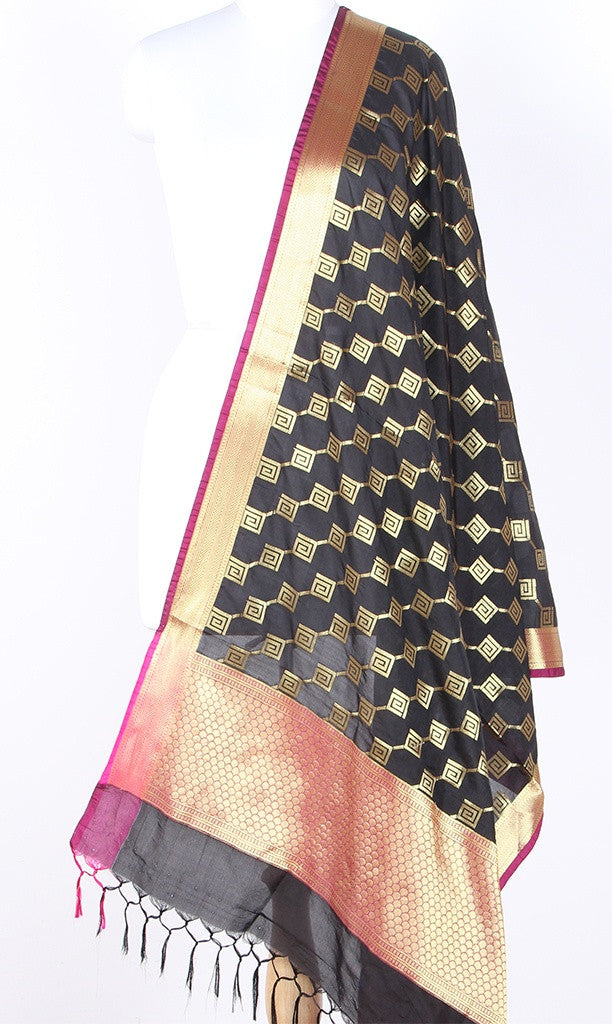 Black Art Silk Banarasi dupatta with greek key pattern jaal SSRVD01N118 (1) Main