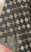 Black Art Silk Banarasi dupatta with greek key pattern jaal SSRVD01N118 (2) Close up