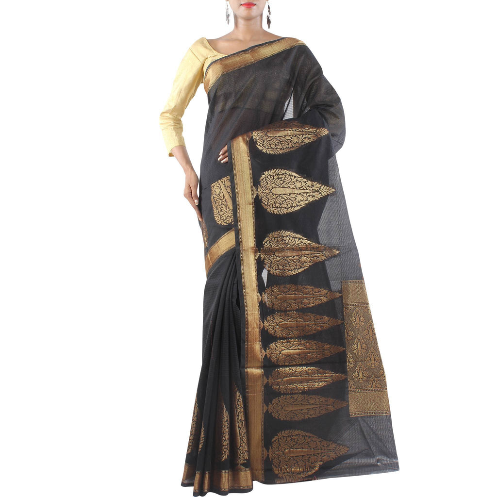 Black Art Silk Saree with Leaf boota and Zari work