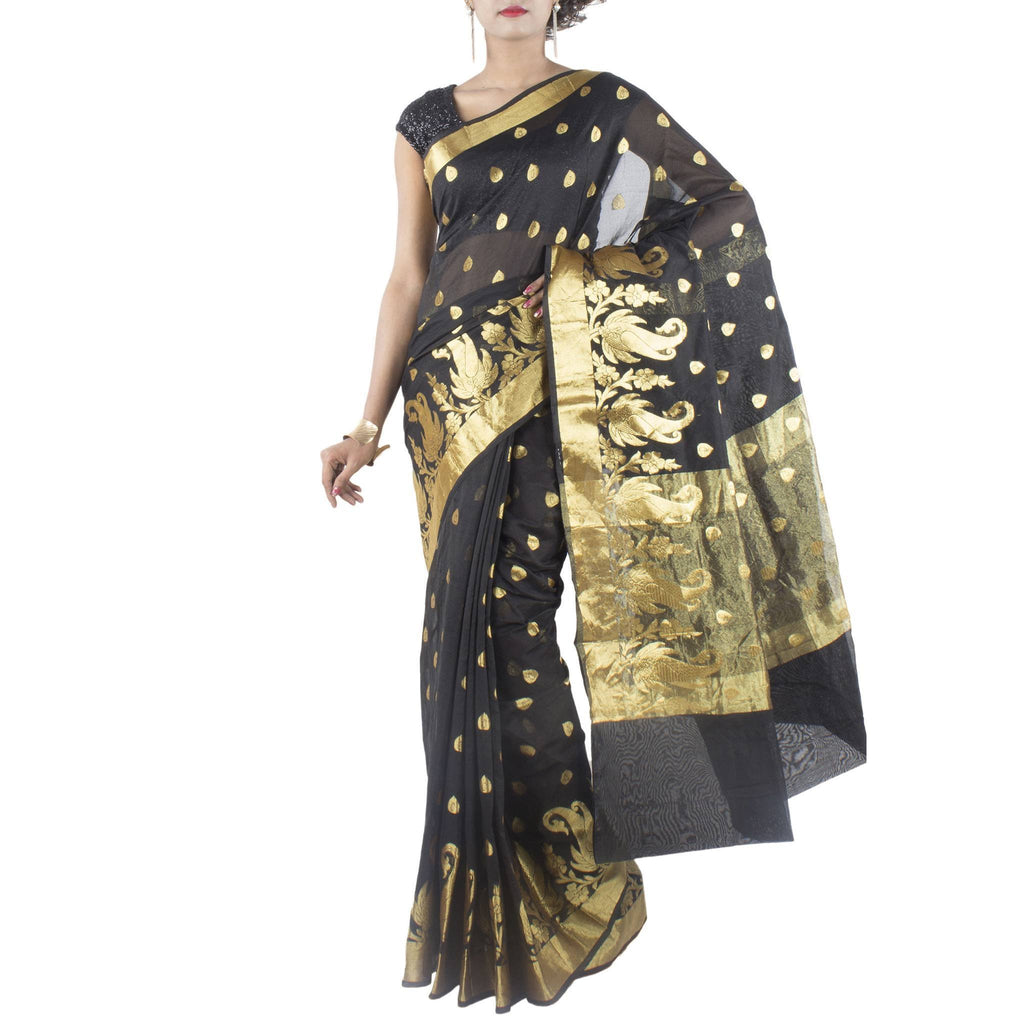 Black Art Silk Saree with Leaf motifs and Zari work