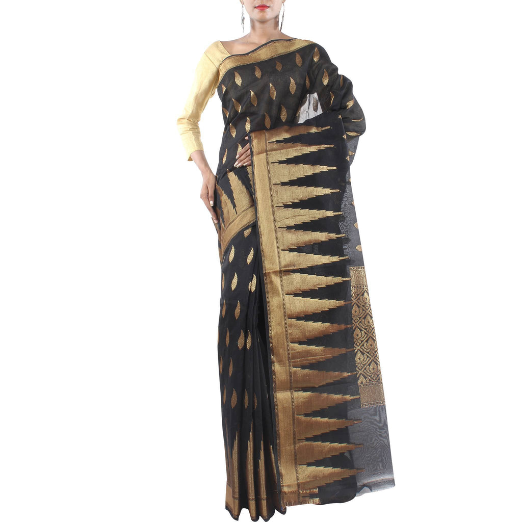 Black Art Silk Saree with Paisly motifs and Zari work