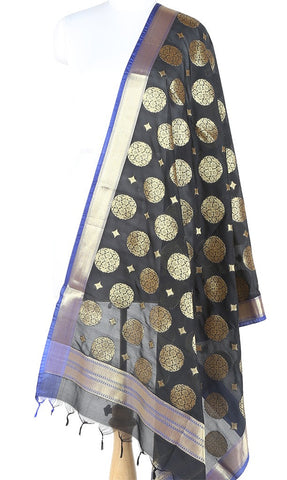 Black Art silk Banarasi Dupatta with round flower and diamond motifs (1) Main