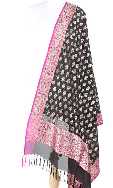 Black Banarasi Silk Dupatta with floral booti PCPBD03S32 (1) Main