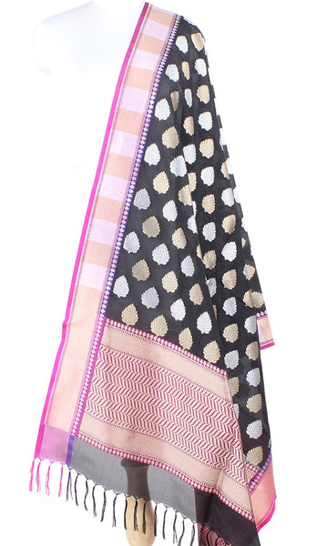 Black Banarasi Silk Dupatta with leaf motifs in dual zari PCPBD01SG15 (1) Main