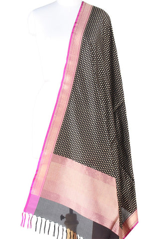 Black Banarasi Silk Dupatta with mini polka dots in zari (PCPBD02S04) (1) Main