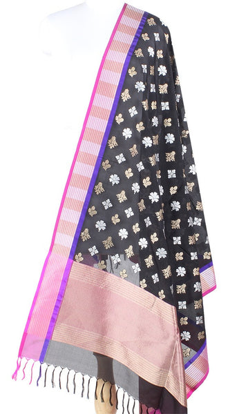 Black Banarasi Silk Dupatta with multi flower motifs in dual zari PCPBD01SG20 (1) Main