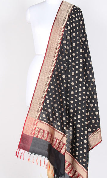 Black Katan Silk Banarasi Dupatta with round motifs PCPBD08KS04 (1) Main