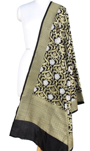 Black Katan Silk Banarasi Dupatta with stylized jaal and zari work PCRVD01B13 (1) Main