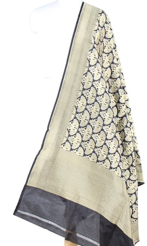Black Katan Silk Banarasi dupatta with Dolls motifs (PCRVD03D03) (1) Main