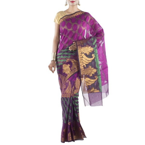 Black Kora Art Silk Saree with purple stylized motifs