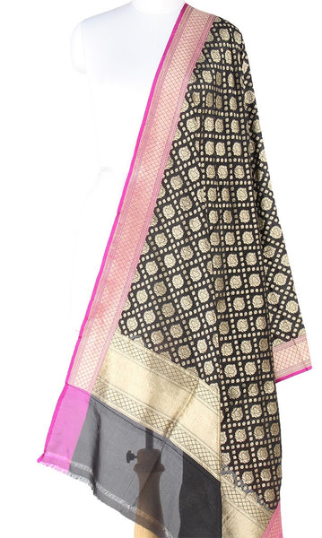 Black Pure Silk Banarasi Dupatta with stylized motifs (PCVJD05) (1) Main