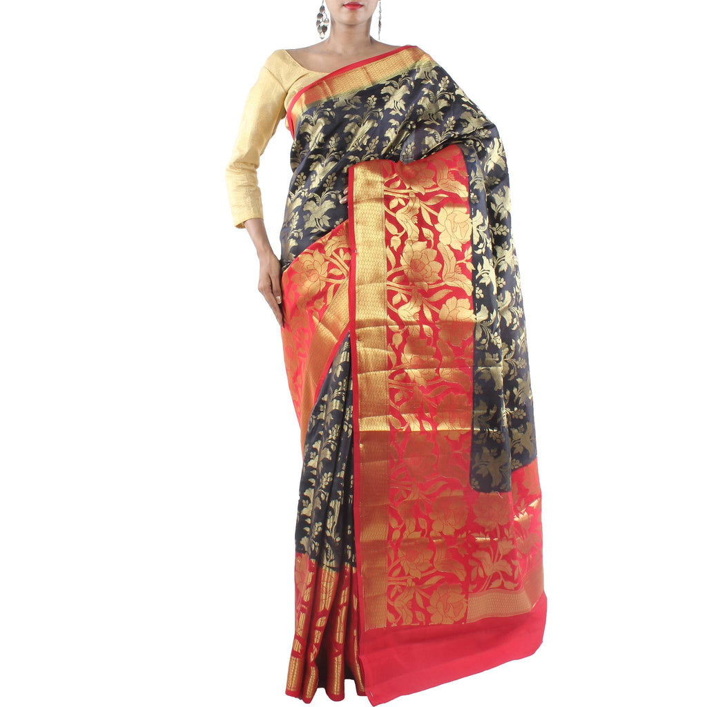 Front image of model wearing Black Silk saree with Hibiscus Flower Motifs and Zari Work