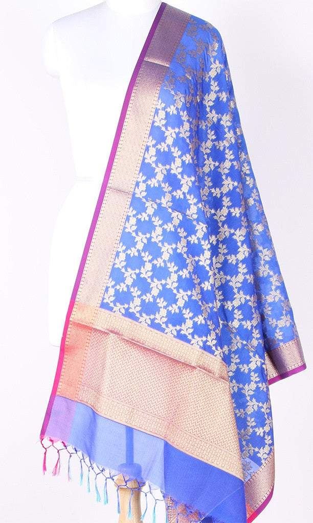 Blue Art Silk Banarasi Dupatta with Aesthetic floral jaal SSRVDAS01N12 (1) Main