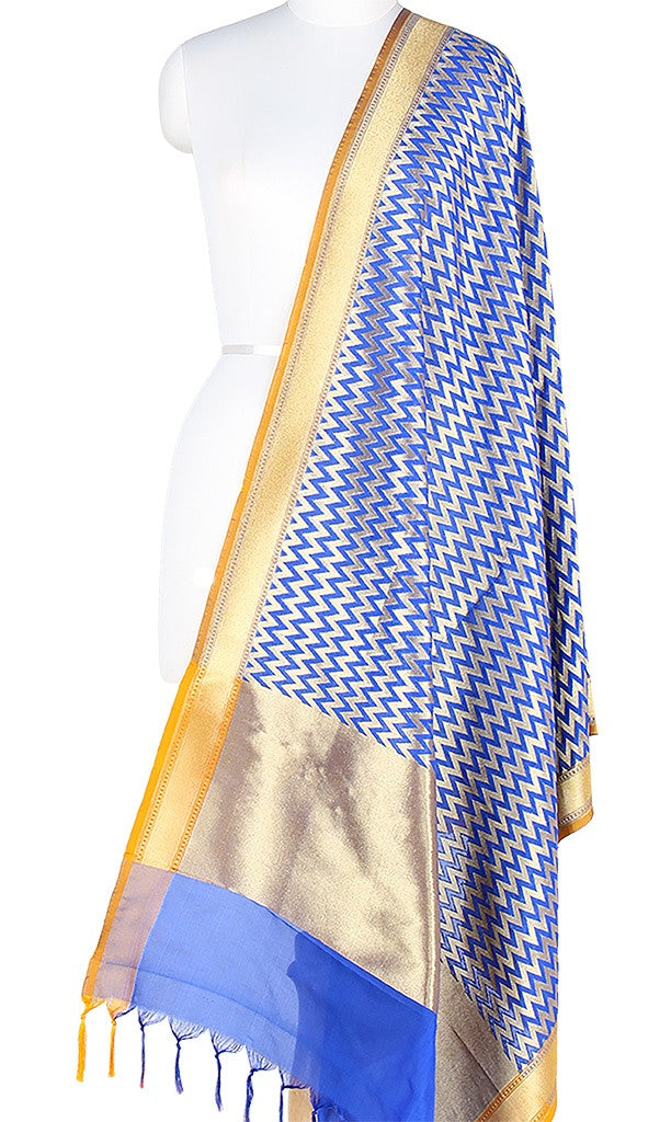 Blue Art Silk Banarasi Dupatta with chevron pattern jaal PCJB01N07 (1) Main