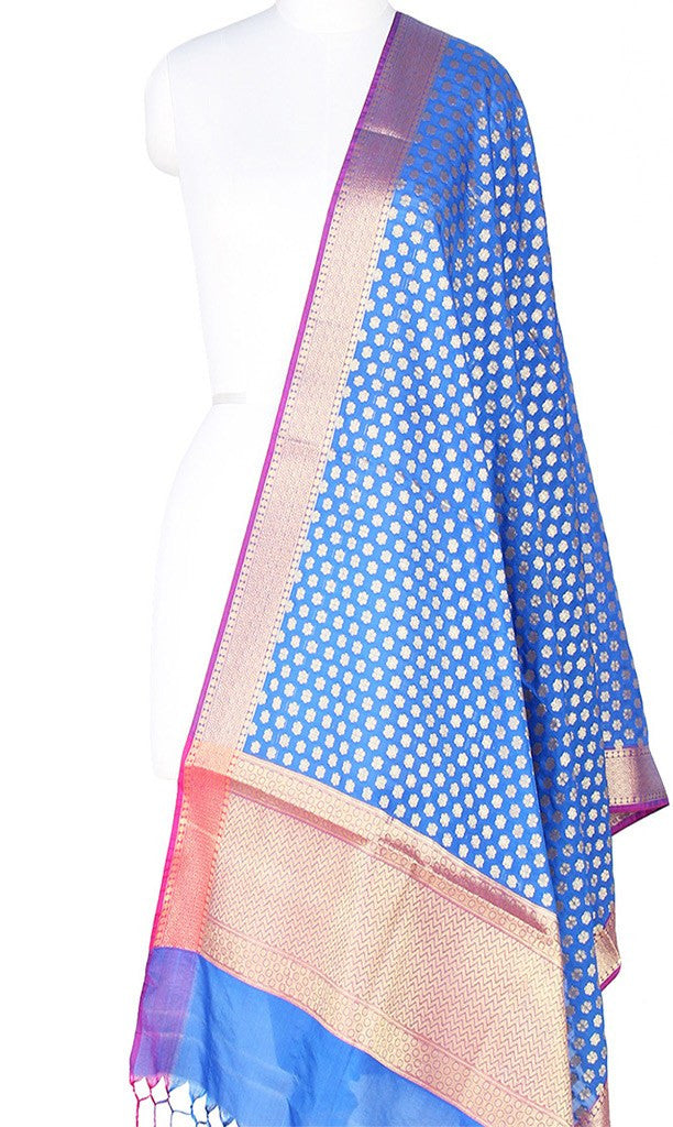 Blue Art Silk Banarasi Dupatta with mini floral booti and zari work Main Image