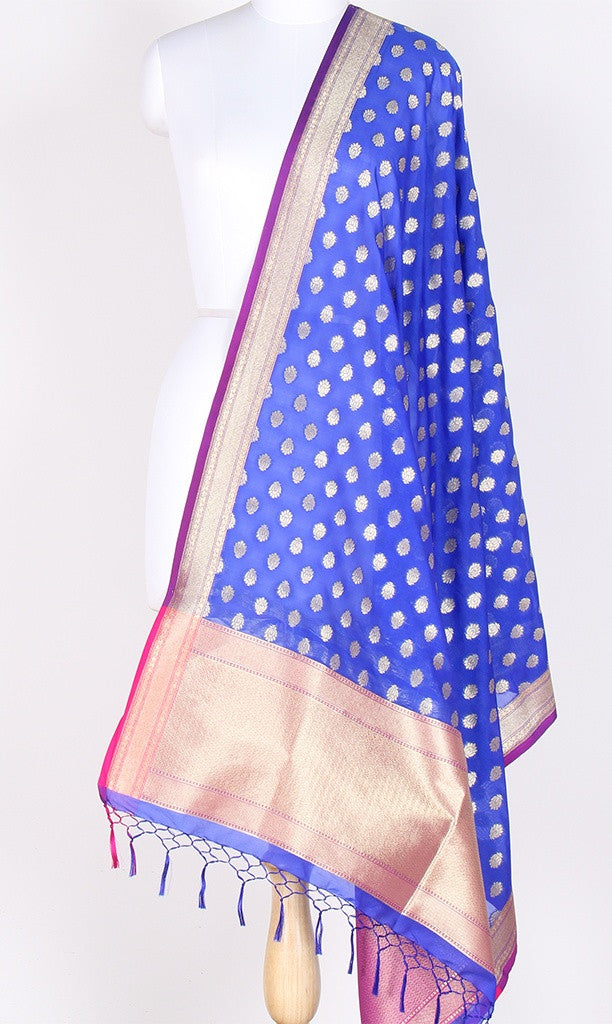 Blue Art Silk Banarasi Dupatta with mini lotus flower motifs SSRVDAS506 (1) Main