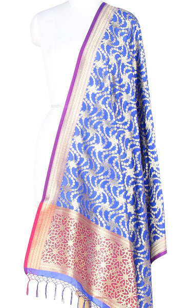 Blue Art Silk Banarasi Dupatta with stylized jaal PCRVDAS127 (1) Main