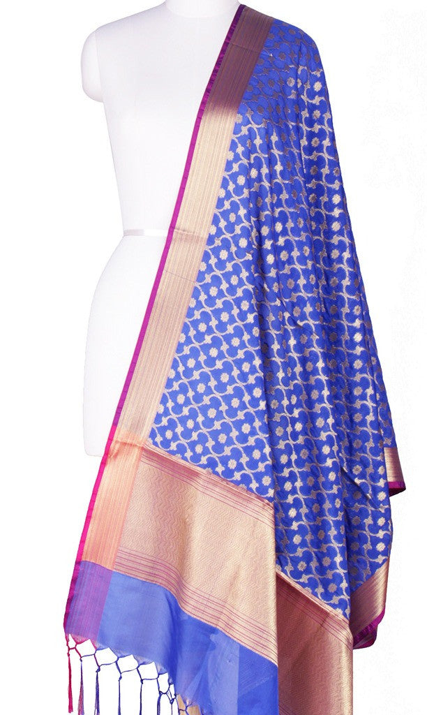 Blue Art Silk Banarasi Dupatta with stylized leaf jaal Main Image