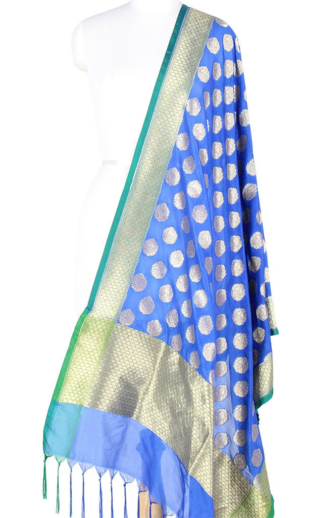 Blue Art Silk Banarasi Dupatta with stylized motifs PCJB01N47 (1) MAIN