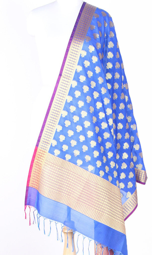 Blue Art Silk Banarasi dupatta with Artistic Lotus booti SSRVD01N125 (1) Main