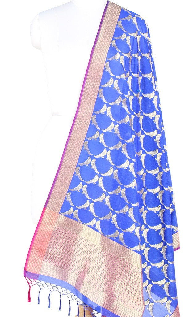 Blue Art Silk Banarasi dupatta with bird motifs (PCRVDP01) (1) Main