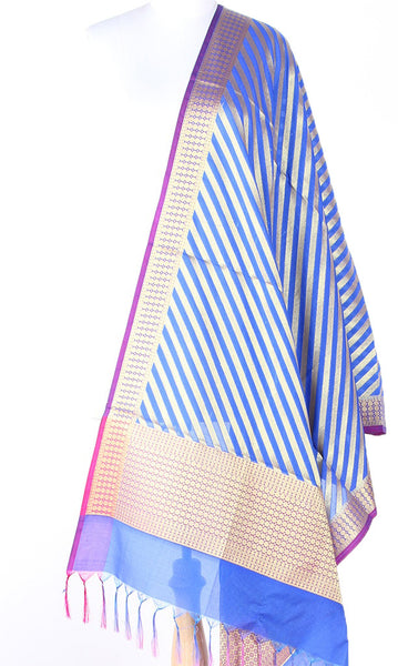 Blue Art Silk Banarasi dupatta with diagonal stripe of gold zari SSRVD01N105 (1) Main