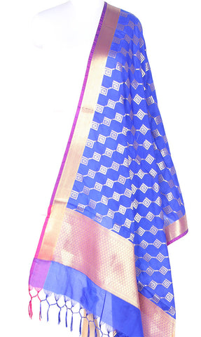 Blue Art Silk Banarasi dupatta with greek key pattern jaal SSRVD01N124 (1) Main