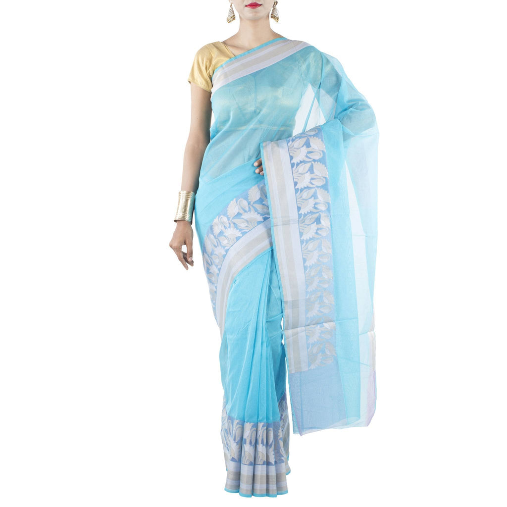 Blue Art Silk Cotton Saree with Lotus woven motifs