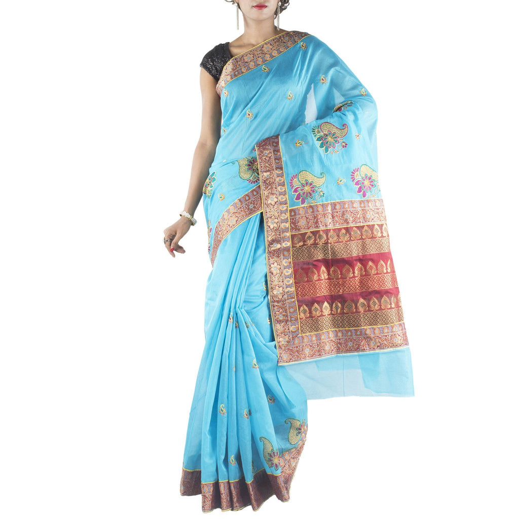 Blue Art Silk Saree with embroidered paisley motifs