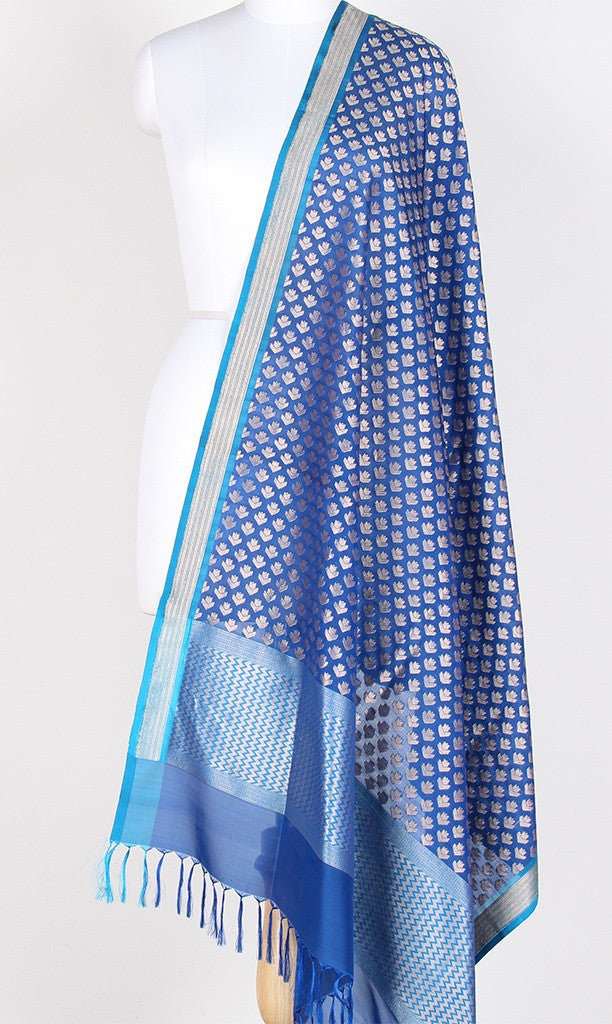 Blue Banarasi Silk Dupatta with dhakai flower booti PCPBD04S06 (1) Main